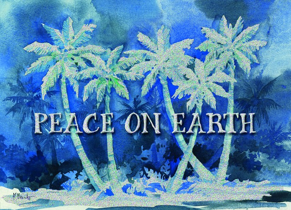 Peace on Earth Blue Palms Christmas Cards