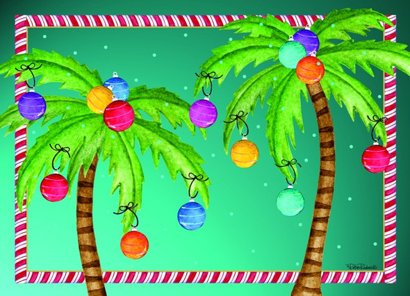 Two Palms with Candy Cane Border