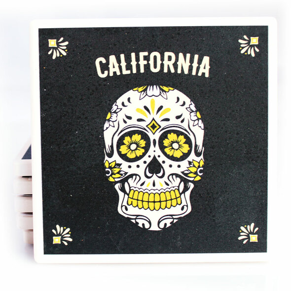 California Black Sugar Skull Coaster