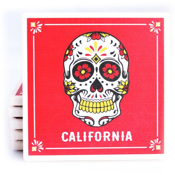 Red Sugar Skull California Coaster