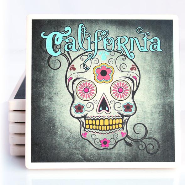 Teal Sugar Skull California Coaster