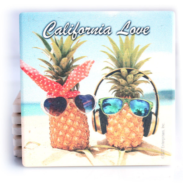 California Love Pineapples Coaster