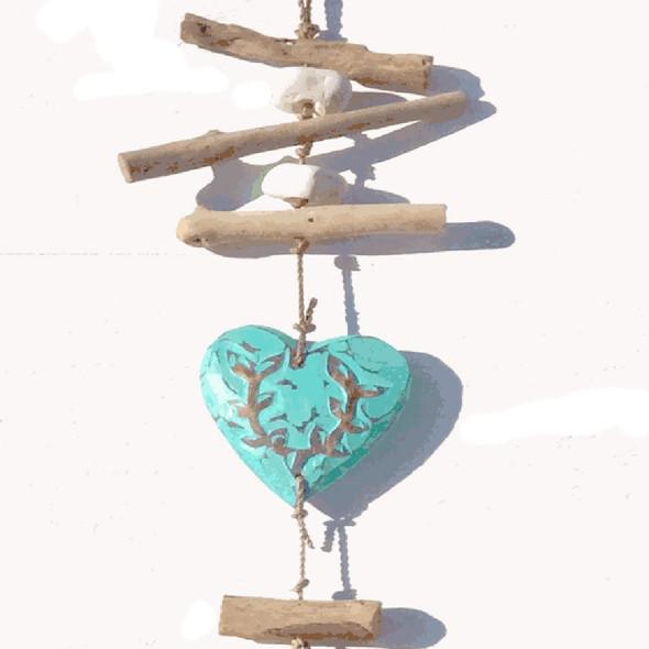 Aqua Wooden Heart Strand