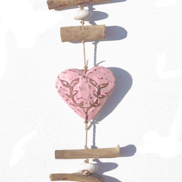 Pink Wood Heart Strand