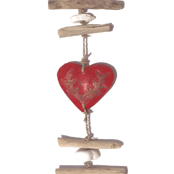 Red Driftwood Heart Strand