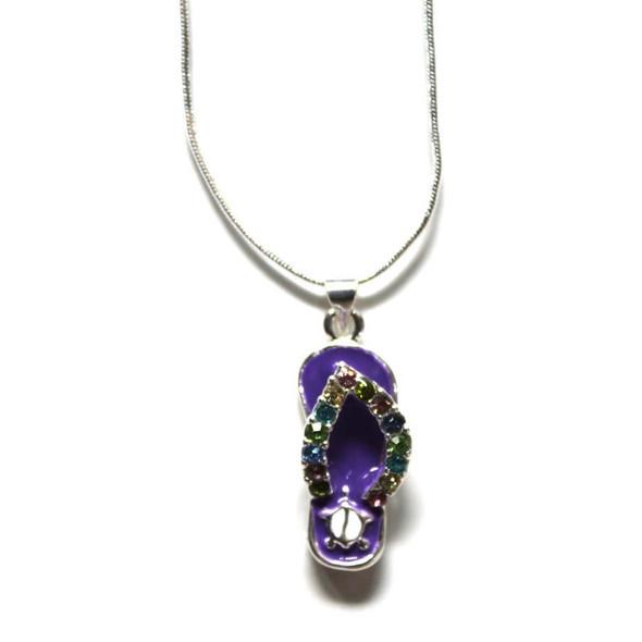 Flip Flop Turtle Rhinestone Necklace