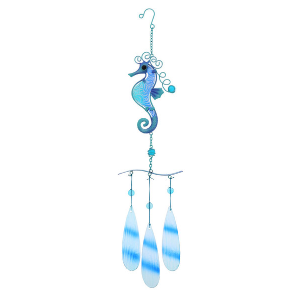 Seahorse Metal & Glass Chime