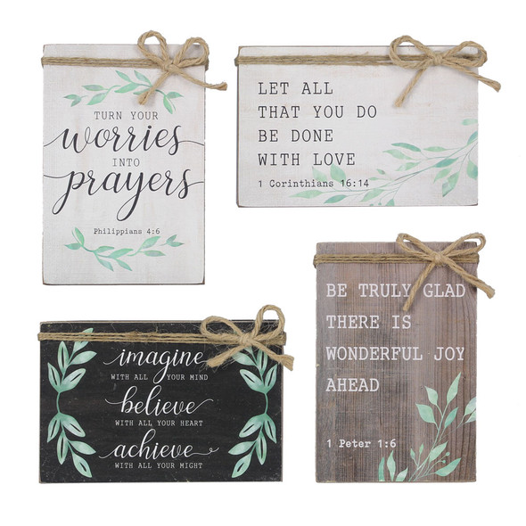 Religious Wood Block Sign Set of 4