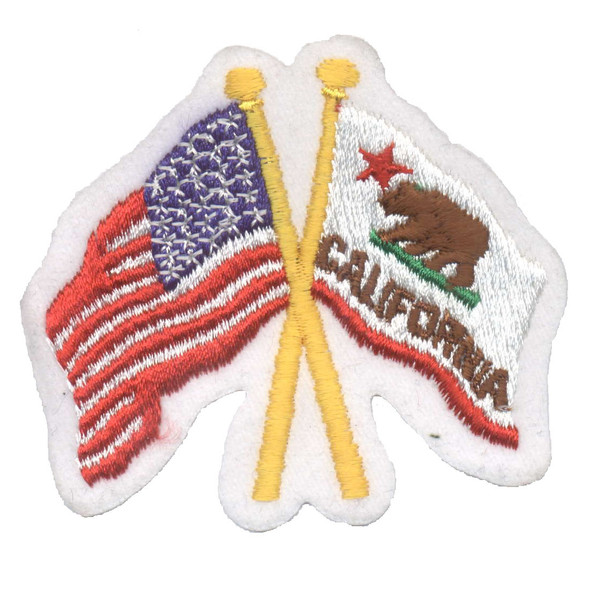 California & US Crossed Flags Patch
