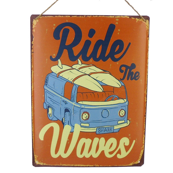 Ride the Waves Metal Sign