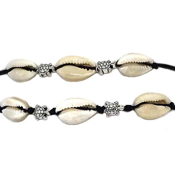 Silver Turtle Cowrie Bracelet