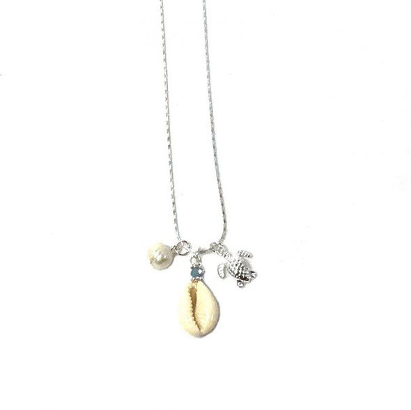 Silver Turtle & Cowrie Necklace