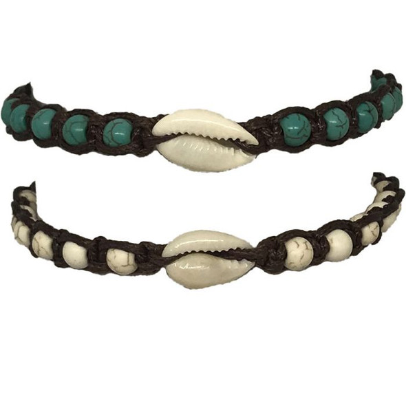 White & Teal Bead Cowrie Bracelet