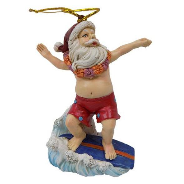 Surfing Santa Ornament