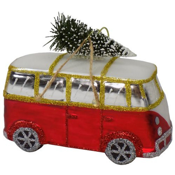 Christmas Bus Blown Glass Ornament