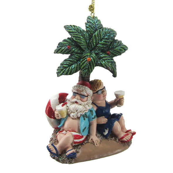 Mr. & Mrs. Claus Palm Tree Ornament