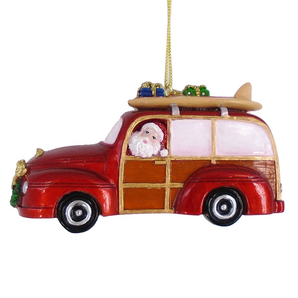 Santa Beach Woody Ornament