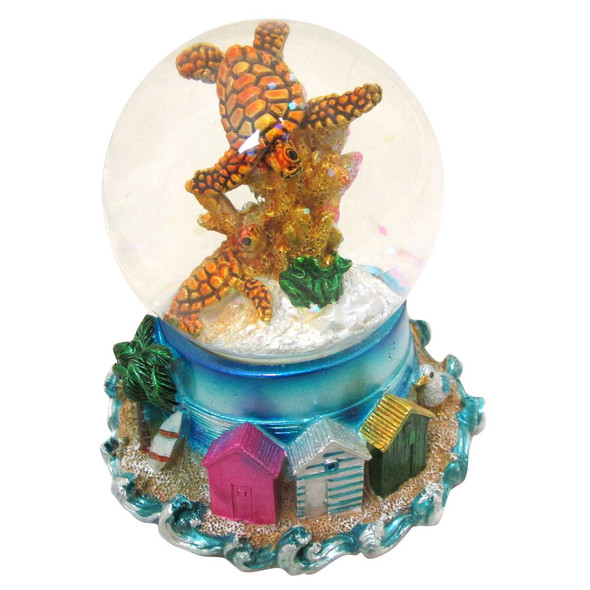 Sea Turtle Snow Globe with Tiki Huts