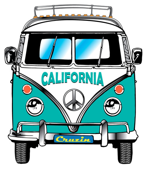 California VW Bus Front View