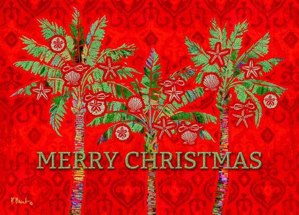 Merry Christmas Red Palm Trees Christmas Cards