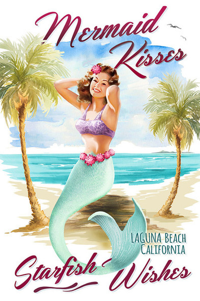 Laguna Beach Mermaid Kisses Watercolor Car Coaster