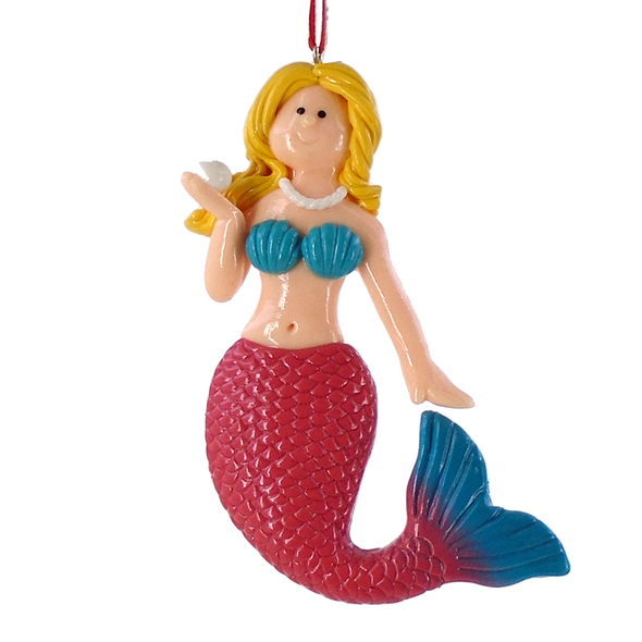 Pink Tail Mermaid Ornament