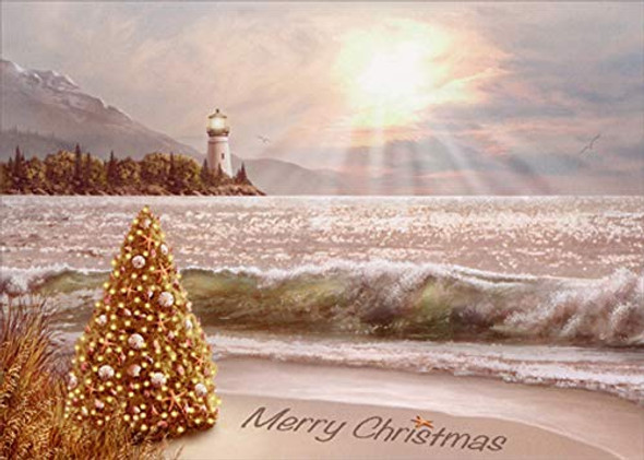 Decorate Tree with Lighthouse Christmas Card