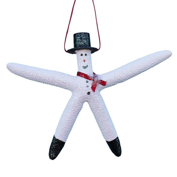Snowman White Finger Starfish Ornament