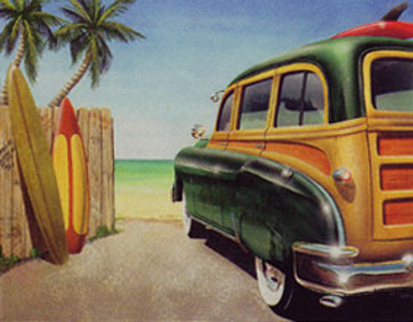 Retro Beach Woody & Surfboard Tin Metal Sign