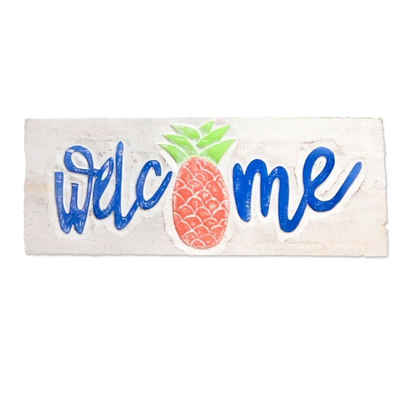 Blue Welcome Pineapple Sign