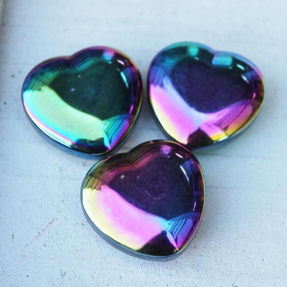 Rainbow Hematite Hearts