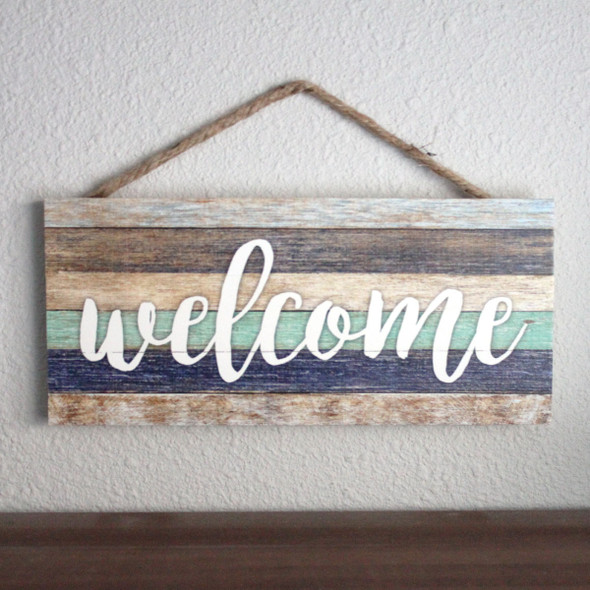 Welcome Stripes Rope Sign