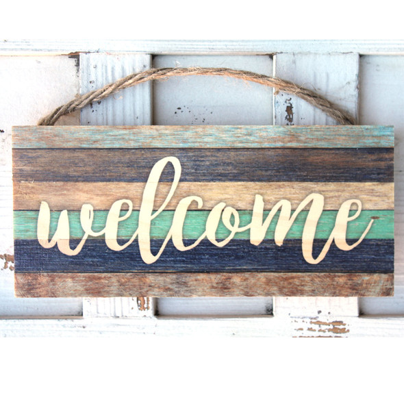 Welcome Stripe Rope Sign