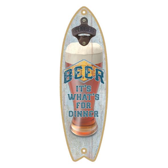 Beer for Dinner Surfboard Bottle Opener