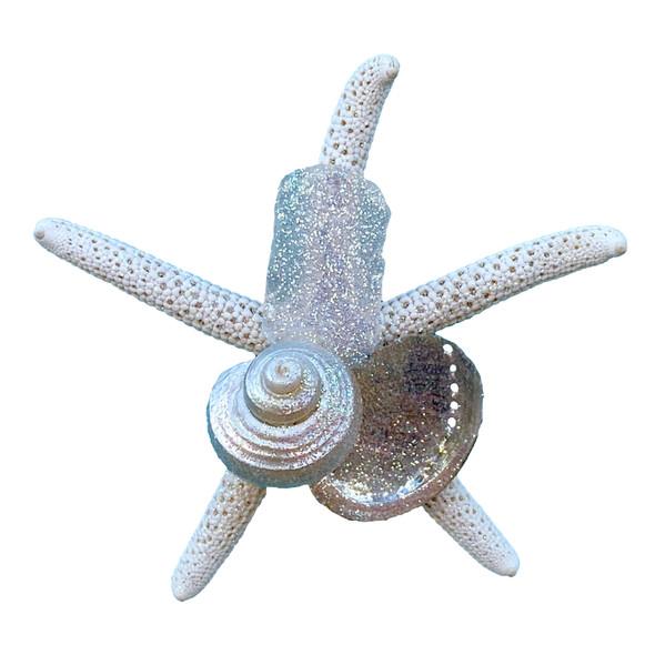 White Sea Glass Finger Starfish Magnet