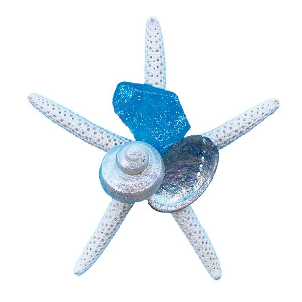 Light Blue Sea Glass Starfish Magnet
