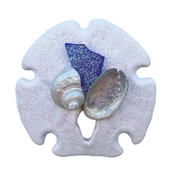 Dark Blue Sea Glass Sand Dollar Magnet