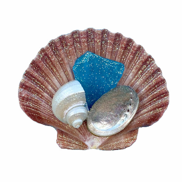 Light Blue Sea Glass Brown Pectin Magnet