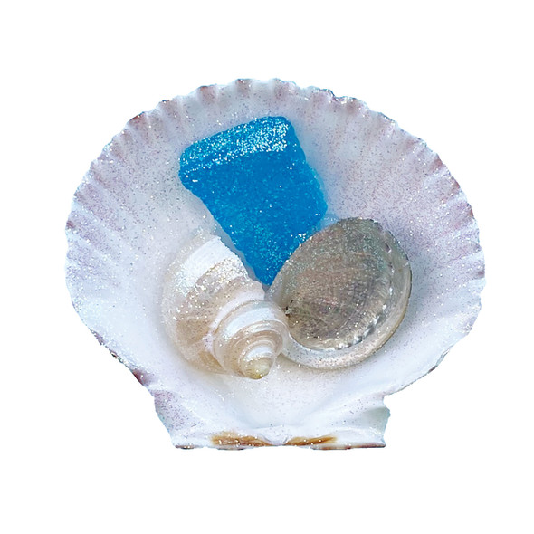 Calico Pectin with Light Blue Sea Glass Magnet