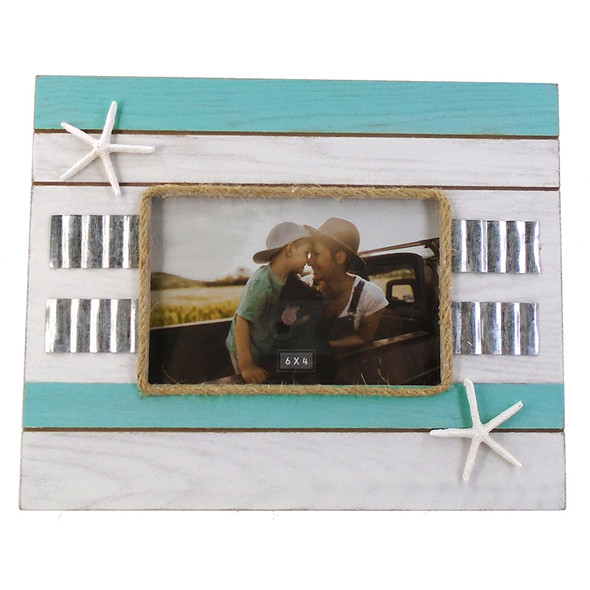 Aqua Stripe Frame with Starfish