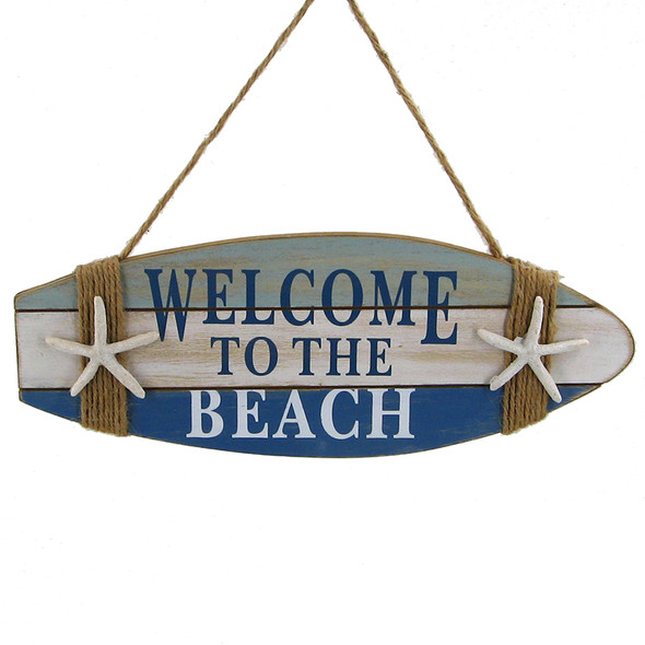 Welcome to the Beach Surfboard Sign