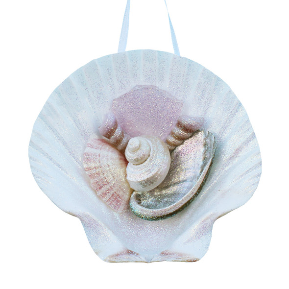 Pink Sea Glass Irish Scallop Ornament