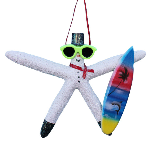 Surfer Snowman Starfish Ornament