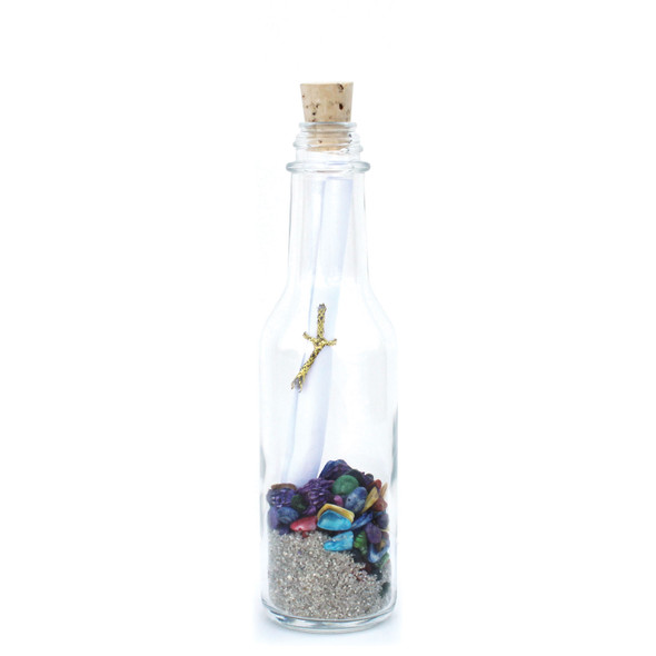Natural Sand and Color Shells Message in a Bottle