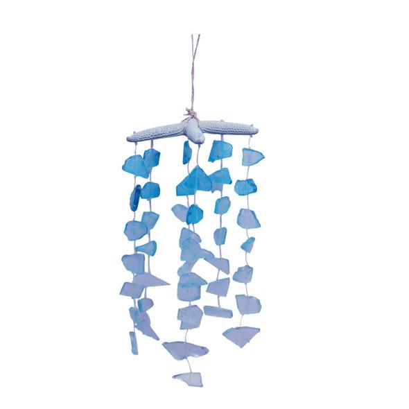 Blue Starfish with Hanging Sea Glass