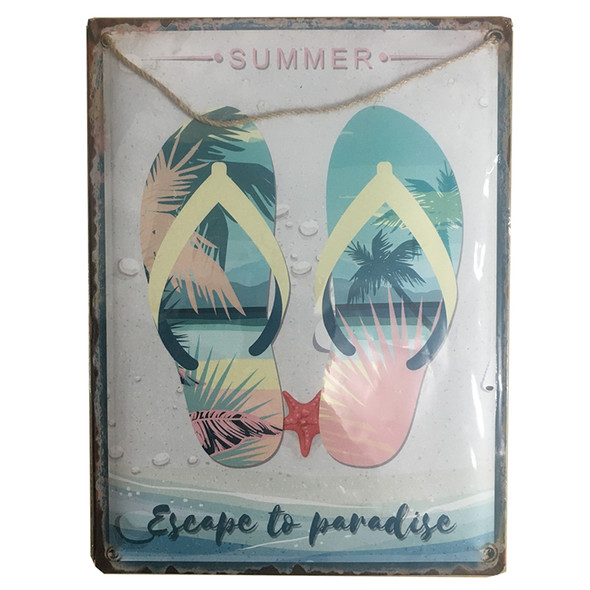 Escape to Paradise Metal Sign