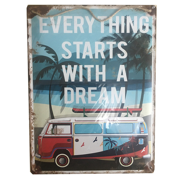 Starts with a Dream VW Bus Metal Sign