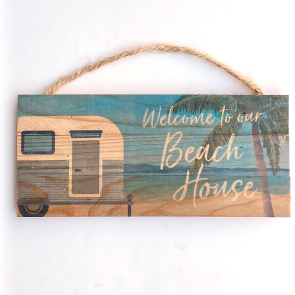 Camper Welcome to the Beach Rope Sign