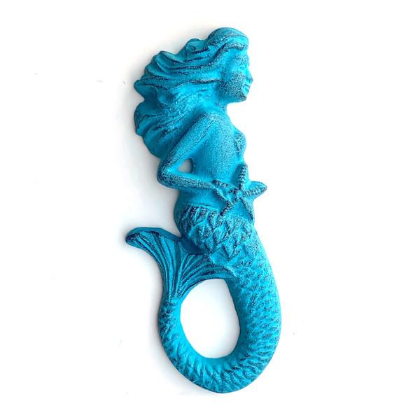 Blue Metal Mermaid Figure