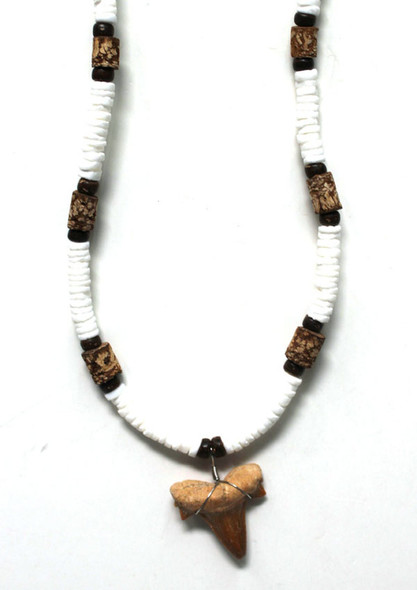 Cork Bead Shark Tooth Necklace